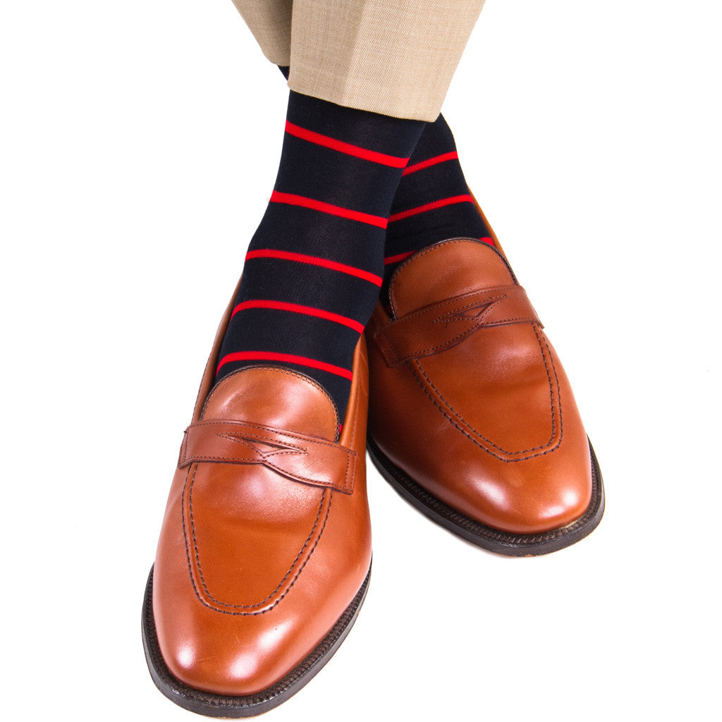 Black with Red Stripe Socks Linked Toe OTC - over-the-calf - dapper-classics