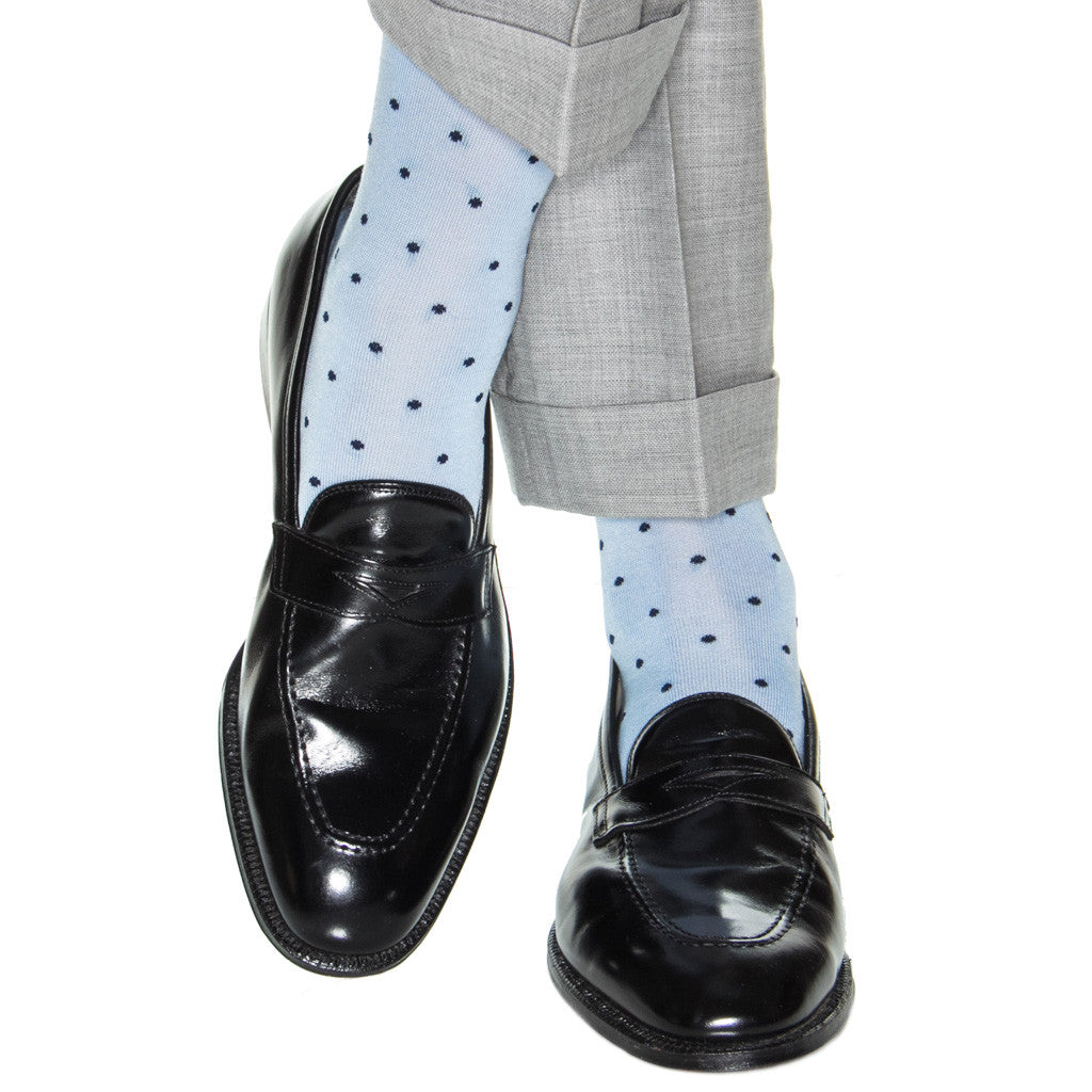 Sky Blue with Navy Polka Dot Socks Linked Toe OTC - over-the-calf - dapper-classics