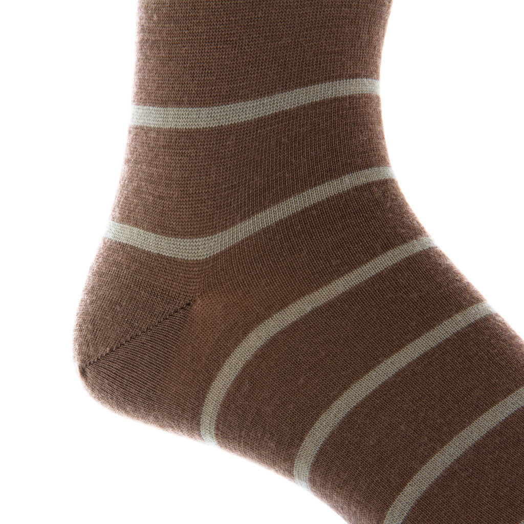 Brown with Taupe Stripe Linked Toe Fine Merino Wool Mid-Calf - mid-calf - dapper-classics - 2