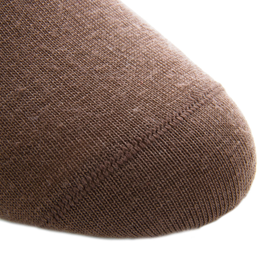 Brown with Taupe Stripe Linked Toe Fine Merino Wool Mid-Calf - mid-calf - dapper-classics - 4