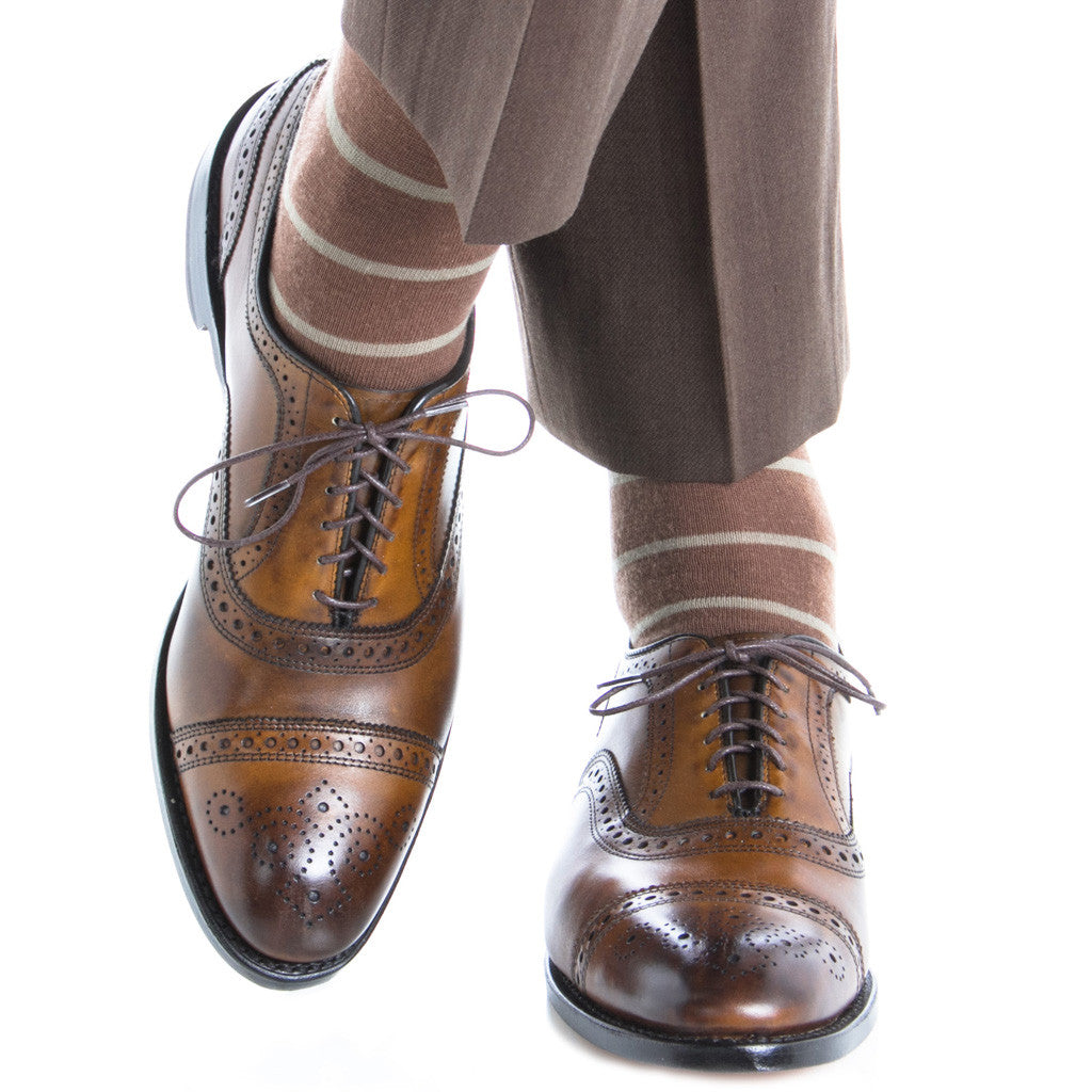 Brown with Taupe Stripe Linked Toe Fine Merino Wool Mid-Calf - mid-calf - dapper-classics - 3