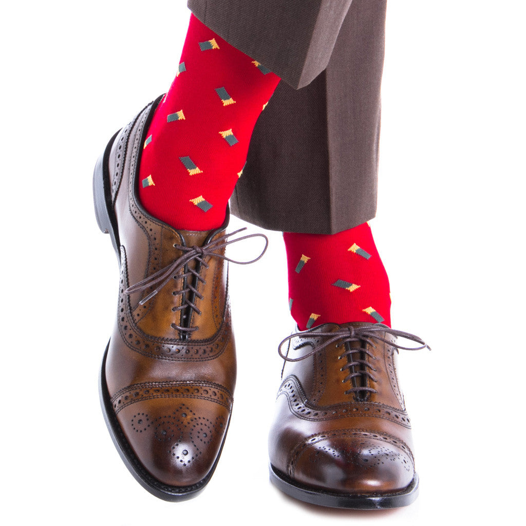 Red with Green Shotgun Shell Sock Linked Toe Mid-Calf - mid-calf - dapper-classics