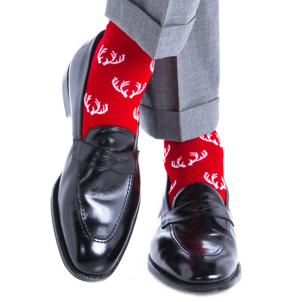 Red with White Antler Sock Linked Toe OTC - over-the-calf - dapper-classics - 1