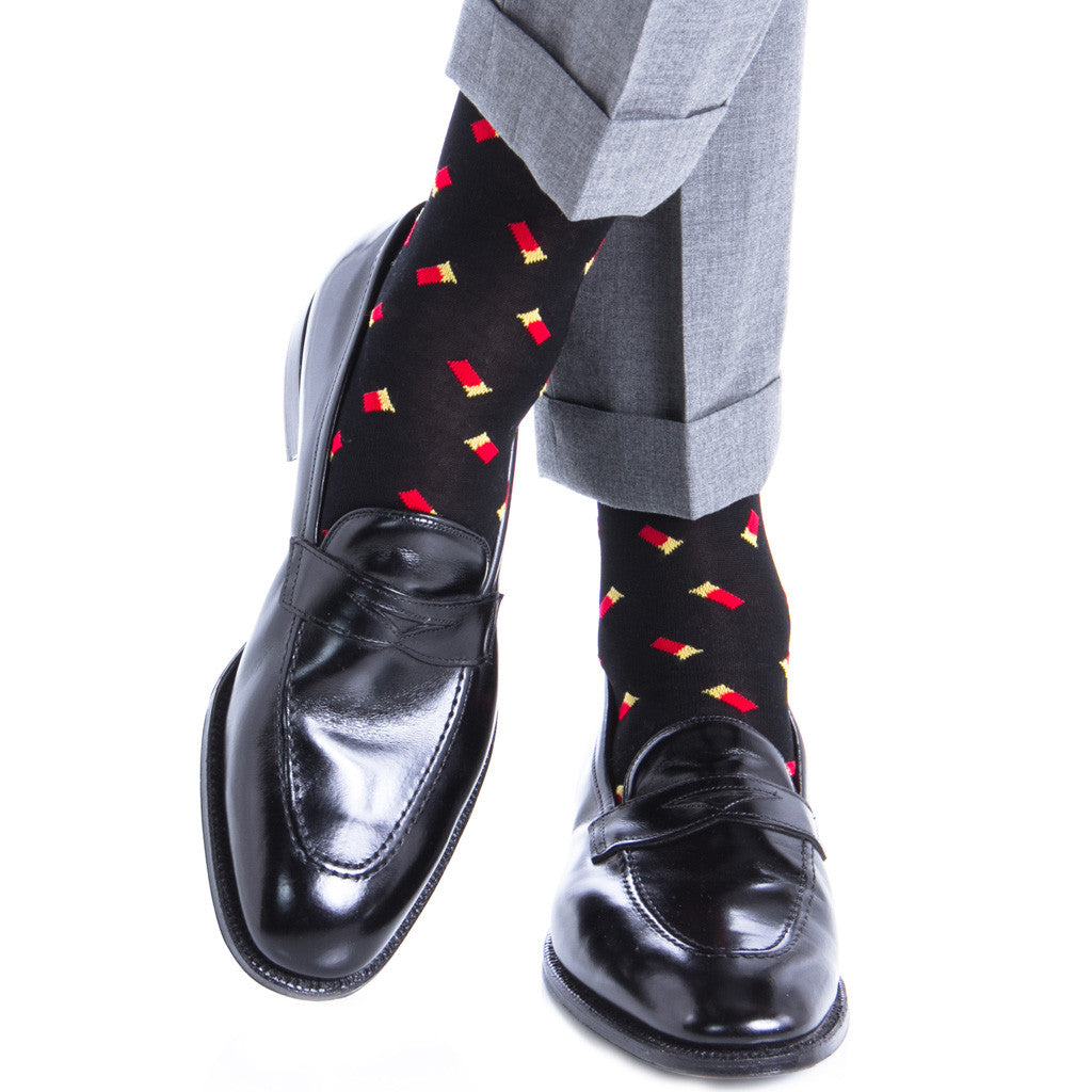 Black with Red Shotgun Shells Linked Toe OTC - over-the-calf - dapper-classics - 1