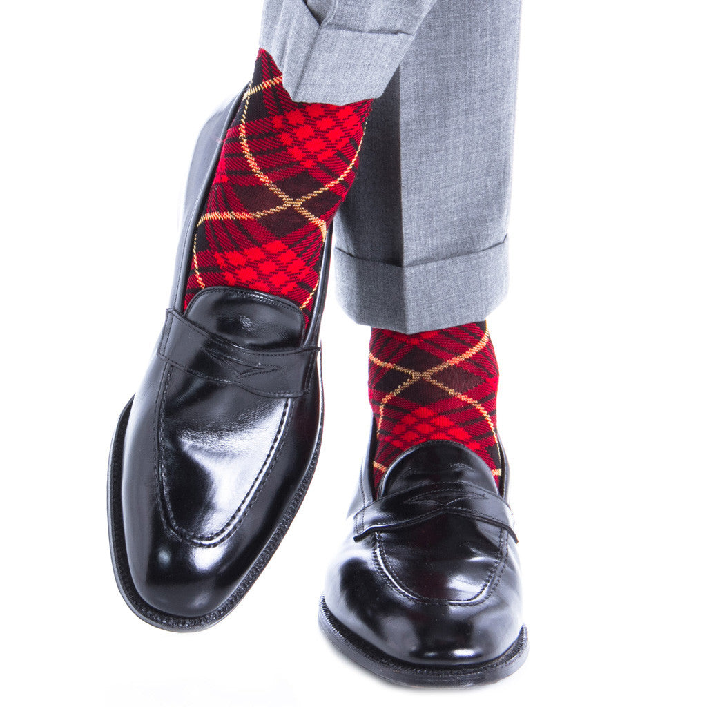 Red with Black and Yellow Tartan Sock Linked Toe Mid-Calf - mid-calf - dapper-classics - 3