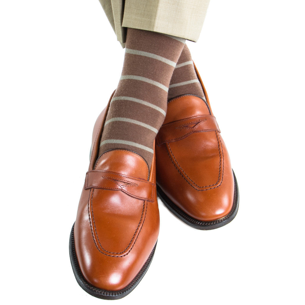 Brown with Taupe Stripe Linked Toe Fine Merino Wool Mid-Calf - mid-calf - dapper-classics - 1