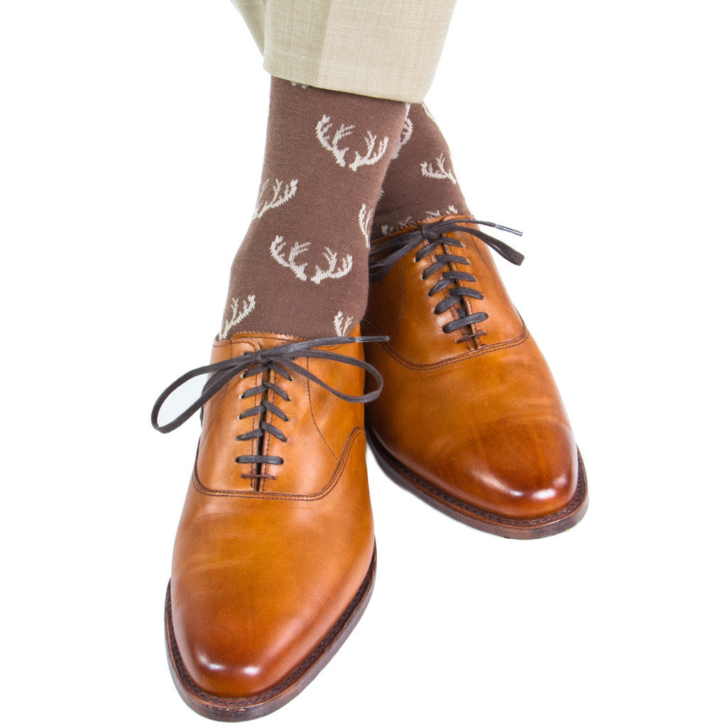 Brown with Tan Antler Sock Linked Toe Fine Merino Wool Mid-Calf - mid-calf - dapper-classics - 1