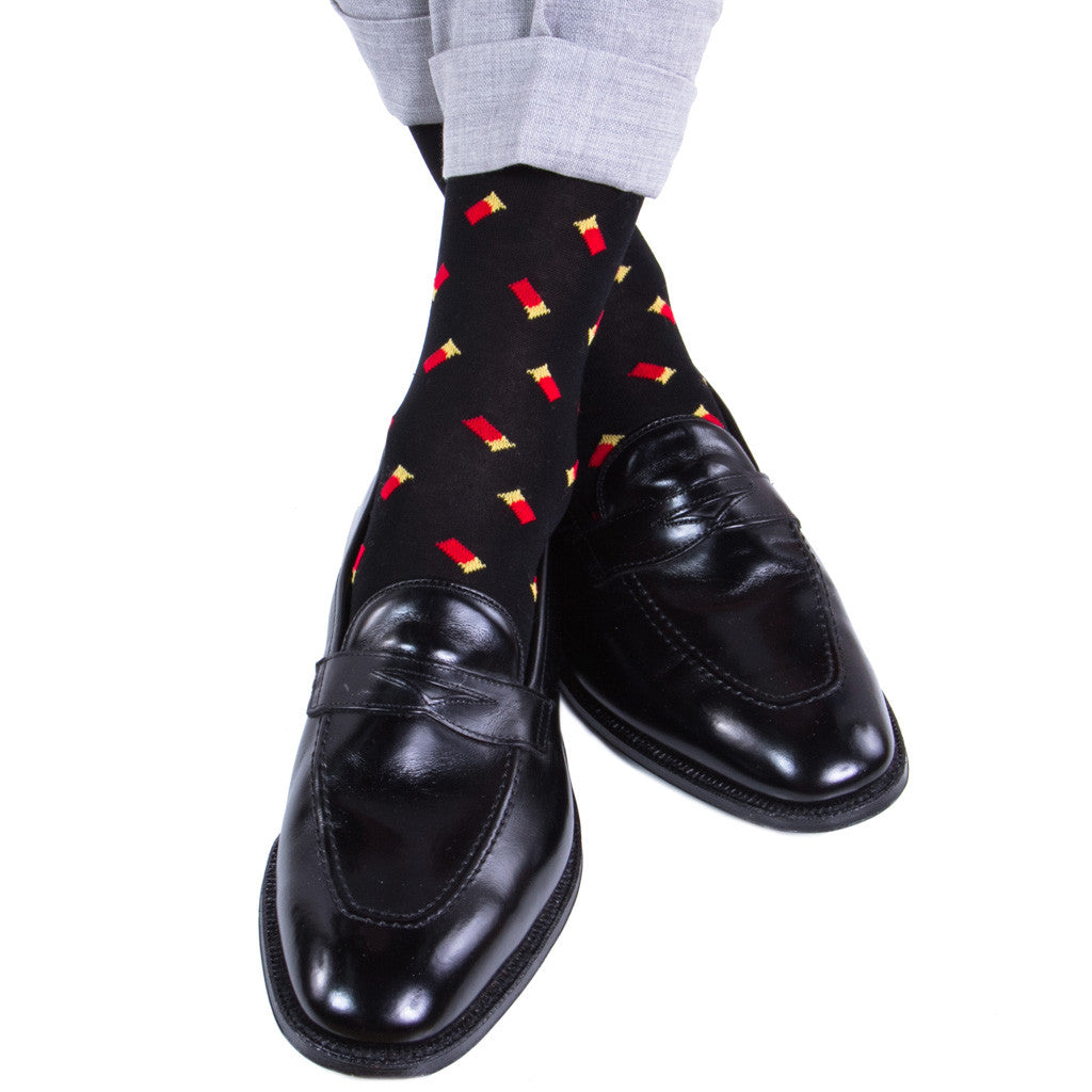 Black with Red Shotgun Shell Sock Linked Toe Mid-Calf - mid-calf - dapper-classics - 1