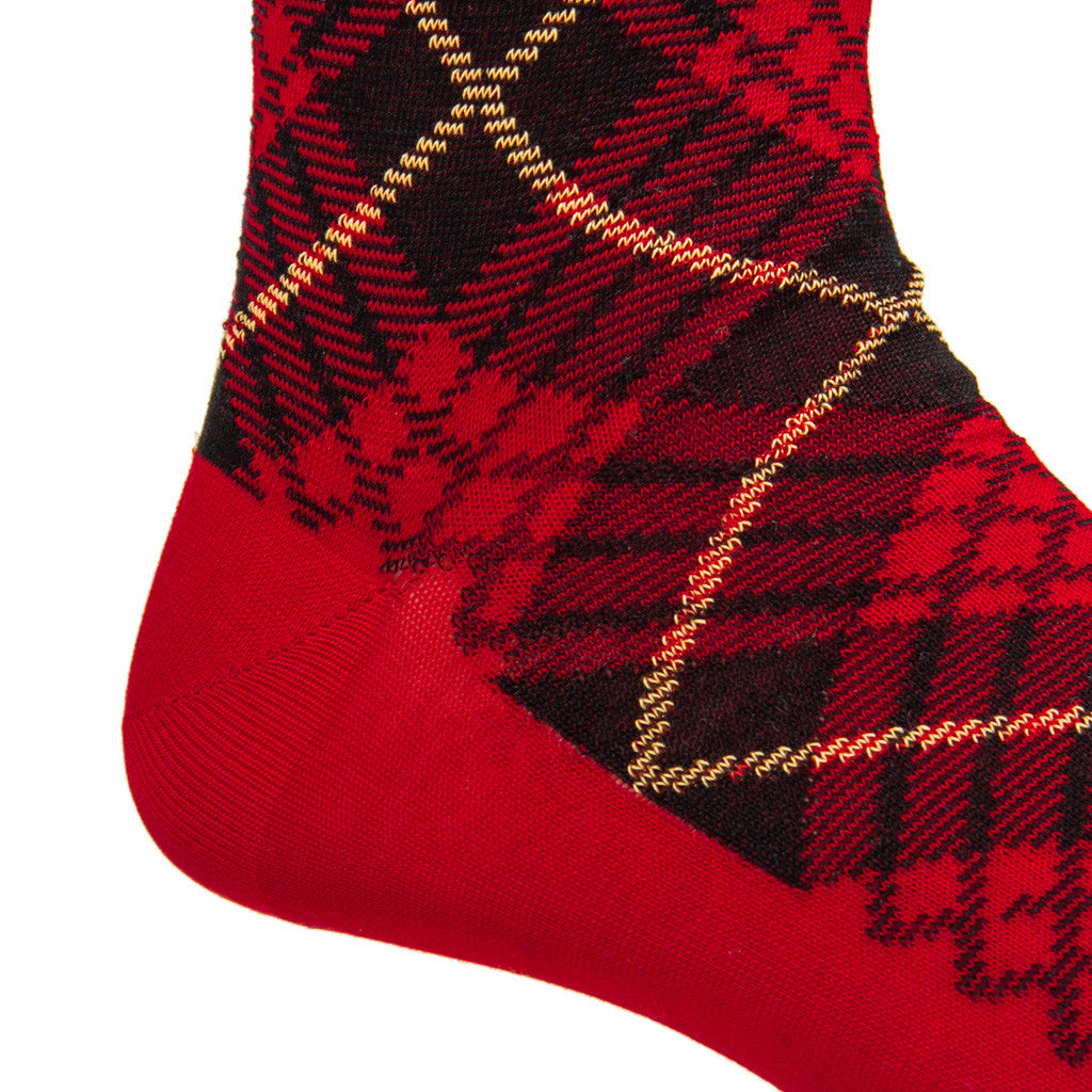 Red with Black and Yellow Tartan Sock Linked Toe Mid-Calf - mid-calf - dapper-classics - 2