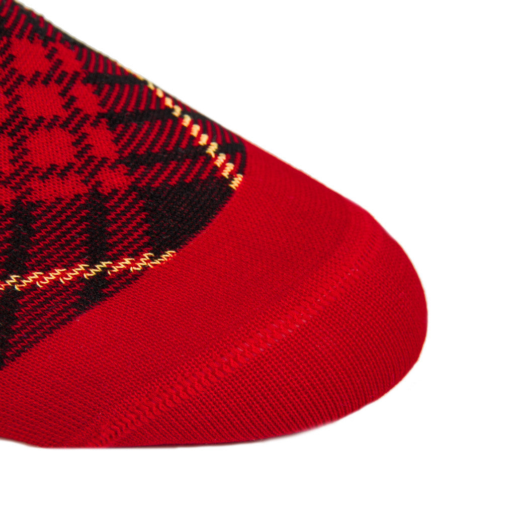 Red with Black and Yellow Tartan Sock Linked Toe Mid-Calf - mid-calf - dapper-classics - 4