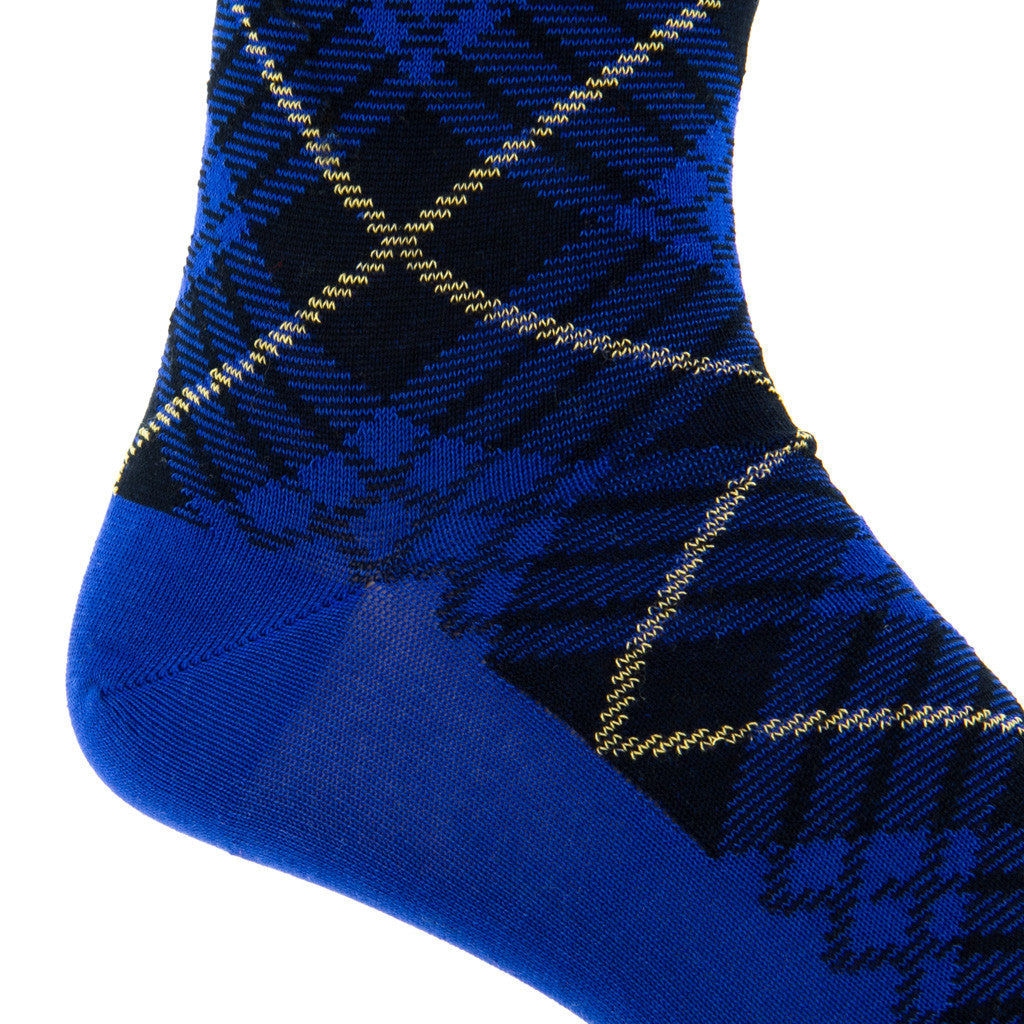 Clematis Blue with Navy and York Tartan Sock Linked Toe Mid-Calf - mid-calf - dapper-classics