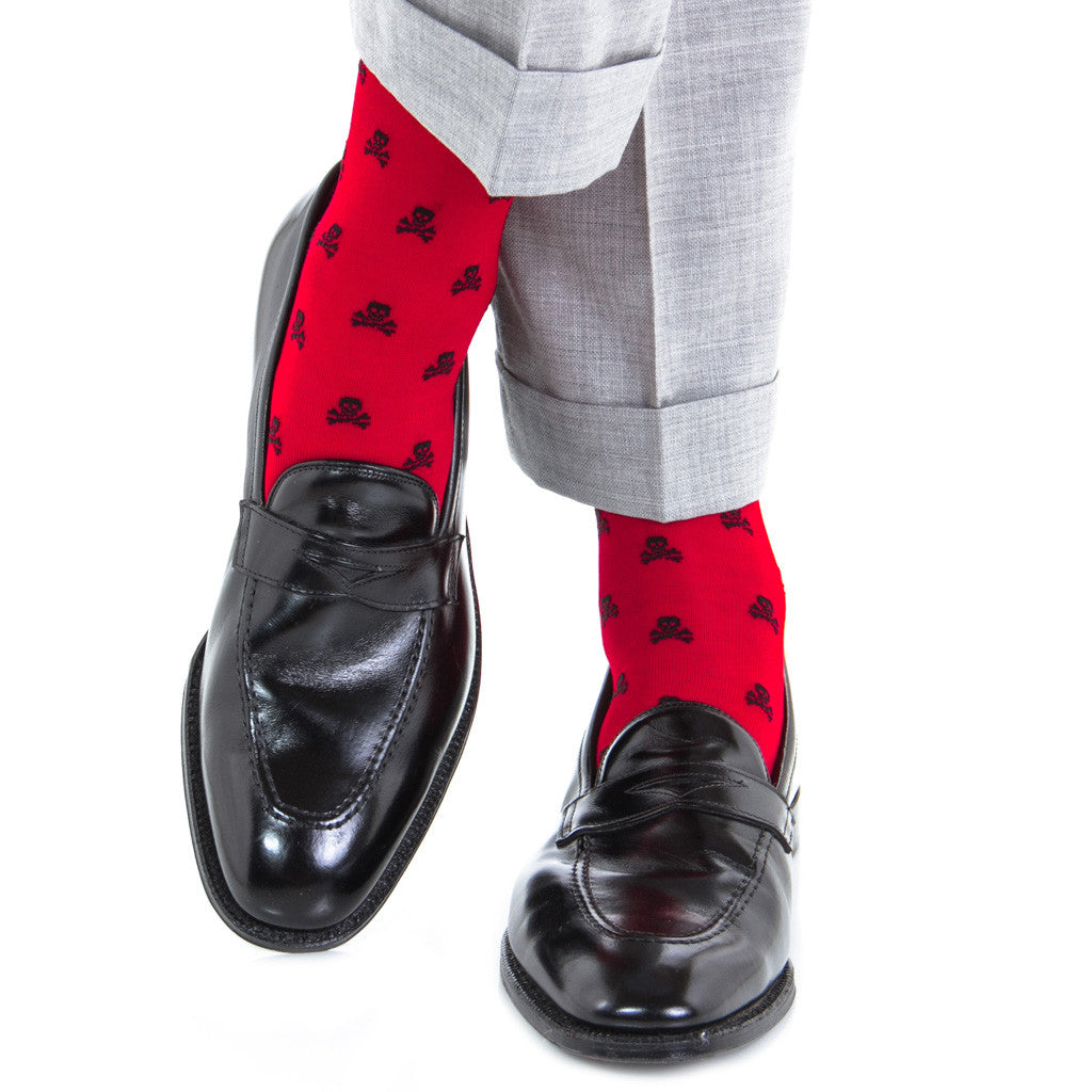 Red with Black Skull and Crossbone Sock Linked Toe Over-the-Calf - over-the-calf - dapper-classics