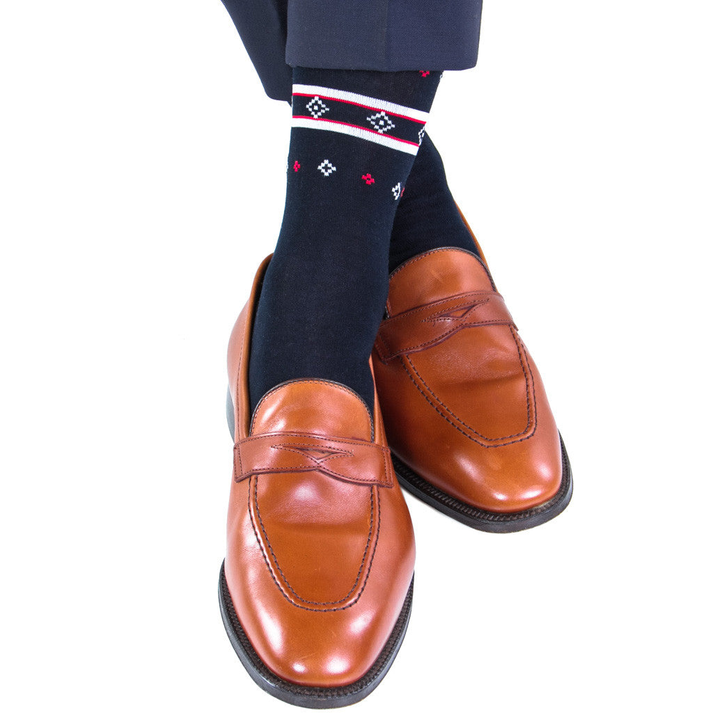 Navy with Red, Ash, and White Deer Fair Isle Sock Linked Toe Mid-Calf - mid-calf - dapper-classics