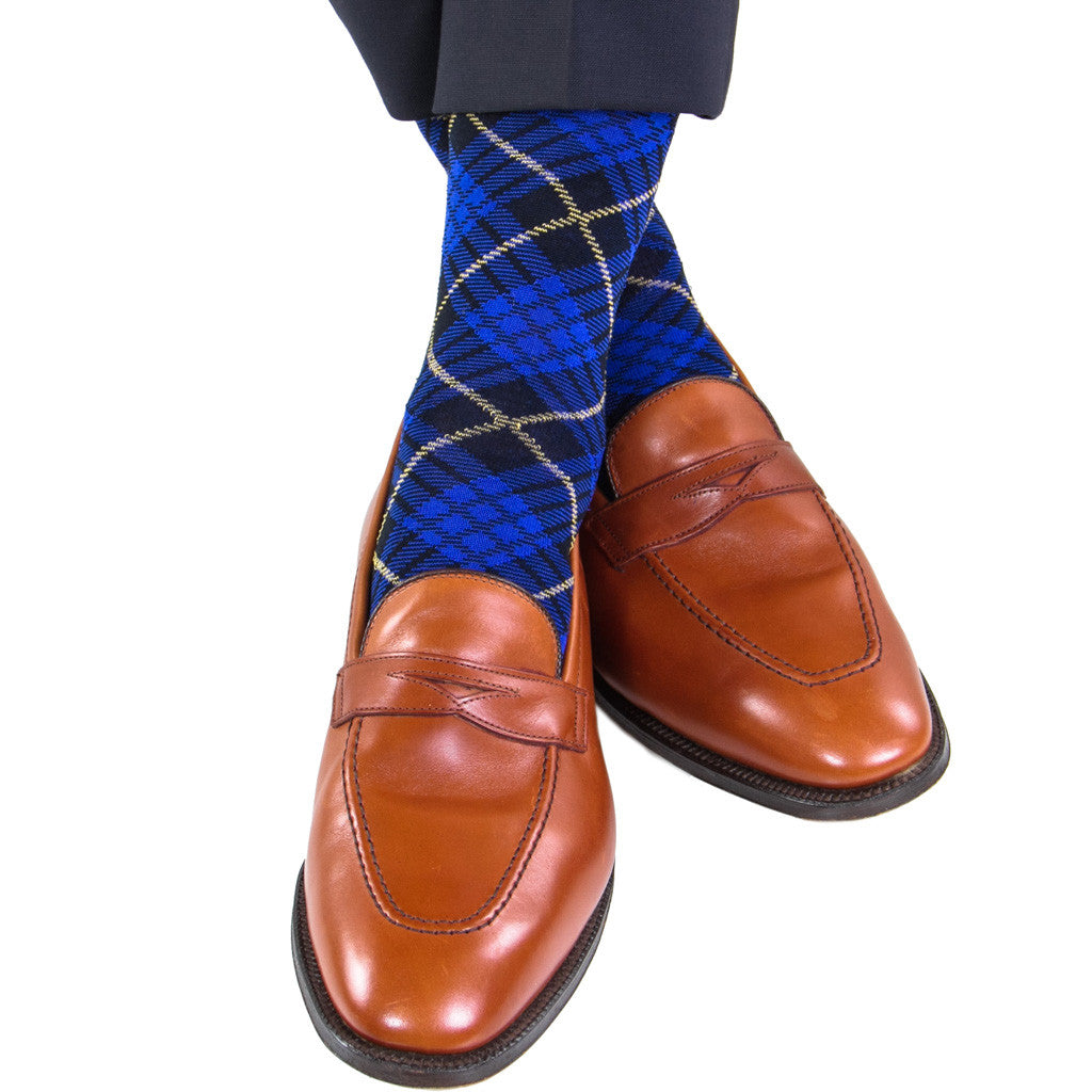 Clematis Blue with Navy and Yolk Tartan Sock Linked Toe OTC - over-the-calf - dapper-classics