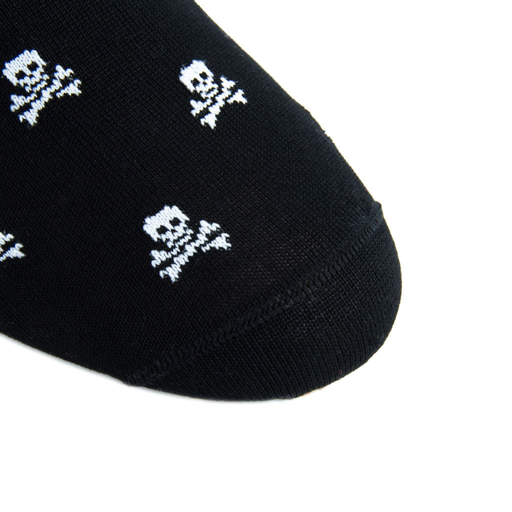 Black with White Skull and Crossbone Sock Linked Toe Mid-Calf - mid-calf - dapper-classics