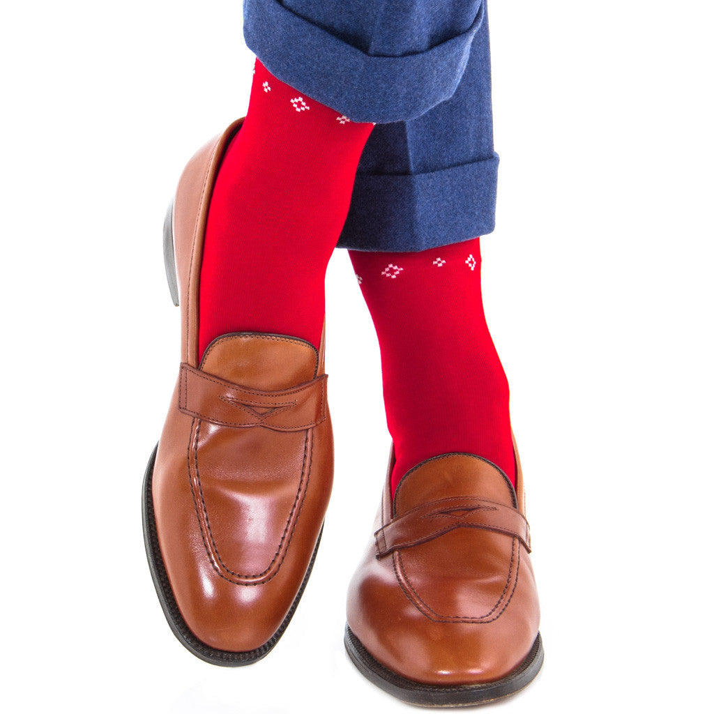 Red with Navy, White, and Ash Deer Fair Isle Sock Linked Toe OTC - over-the-calf - dapper-classics