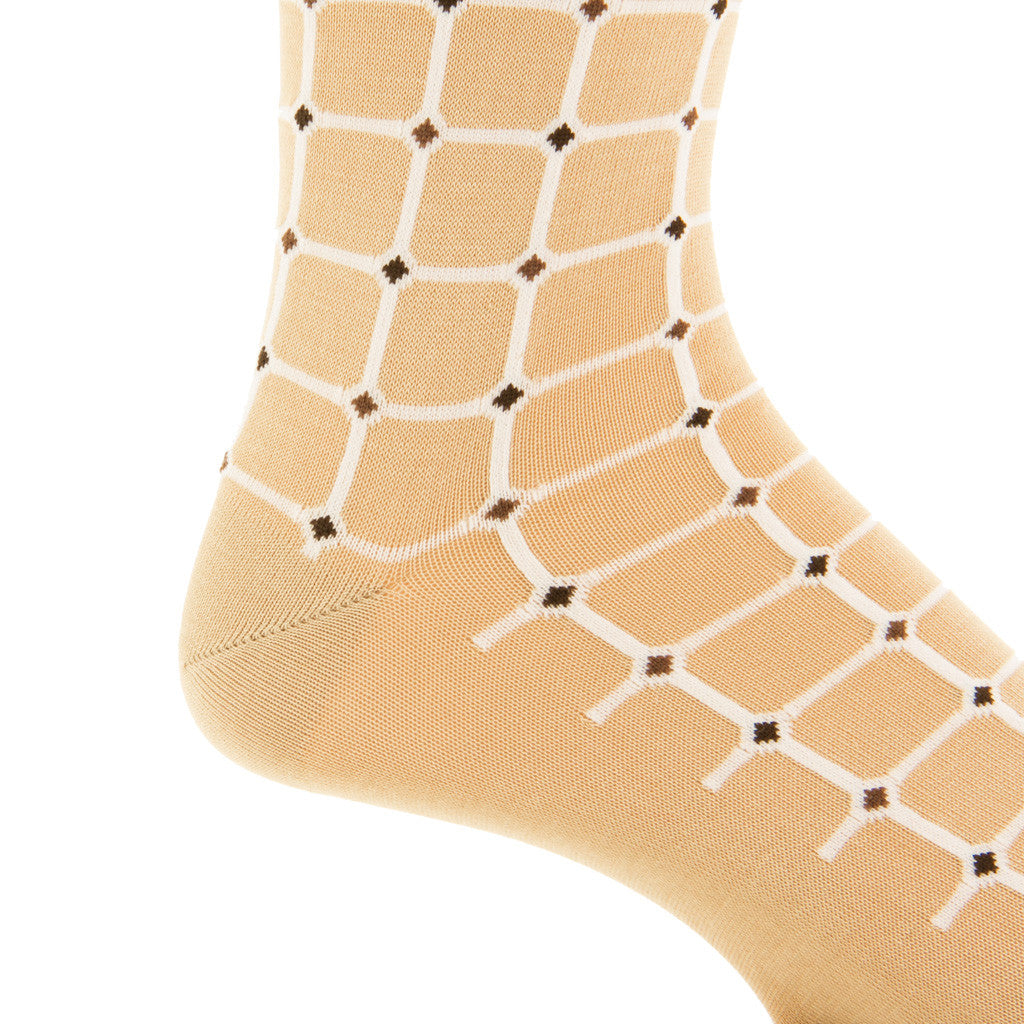 Tan-with-White-Grid-Sock