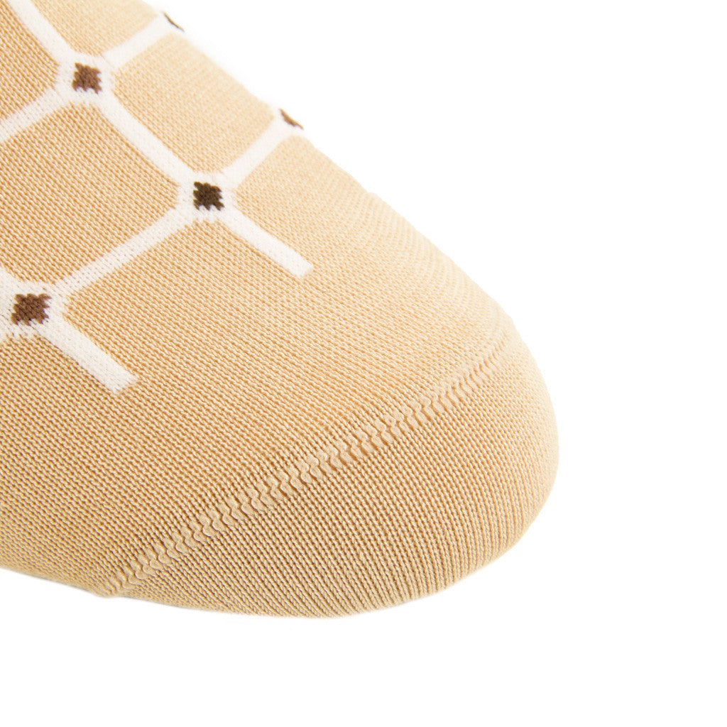 Tan-Grid-Mid-Calf-Sock