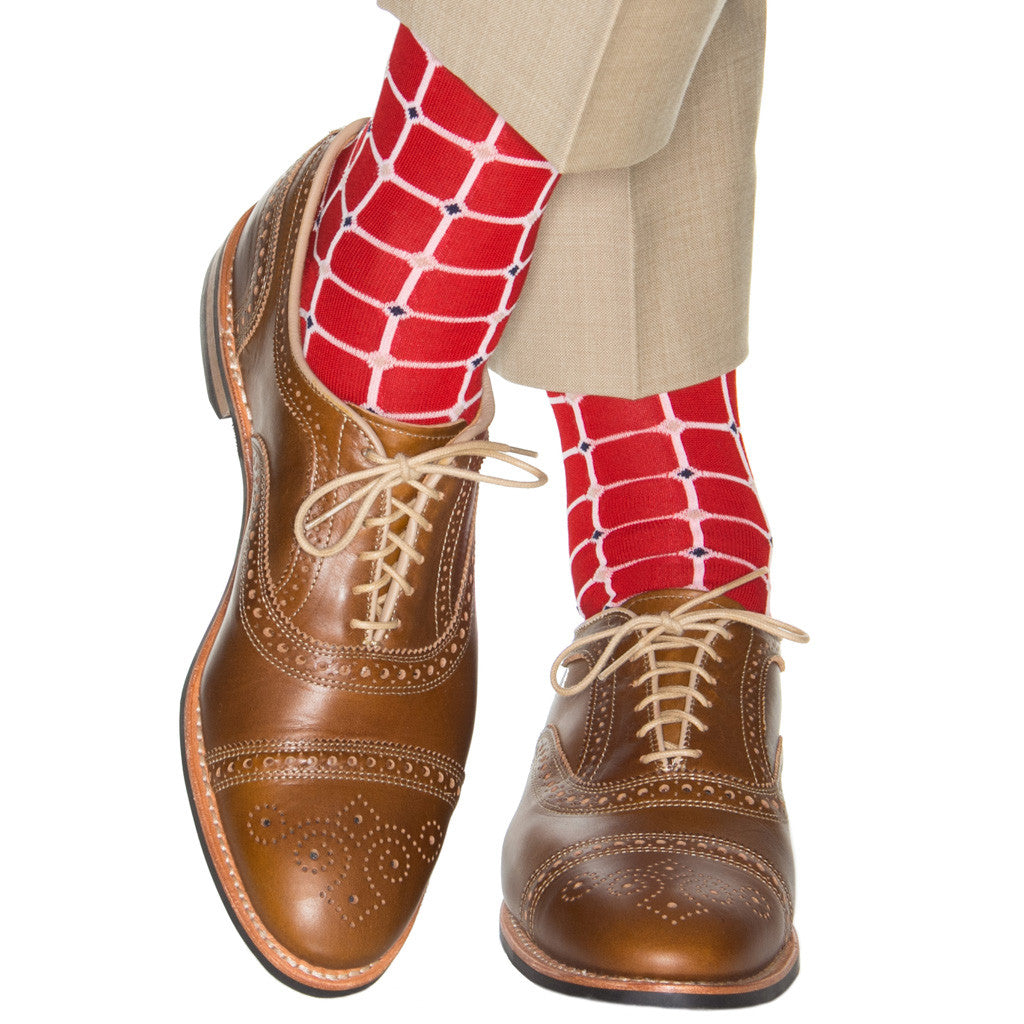 Red-Grid-Mid-Calf-Sock