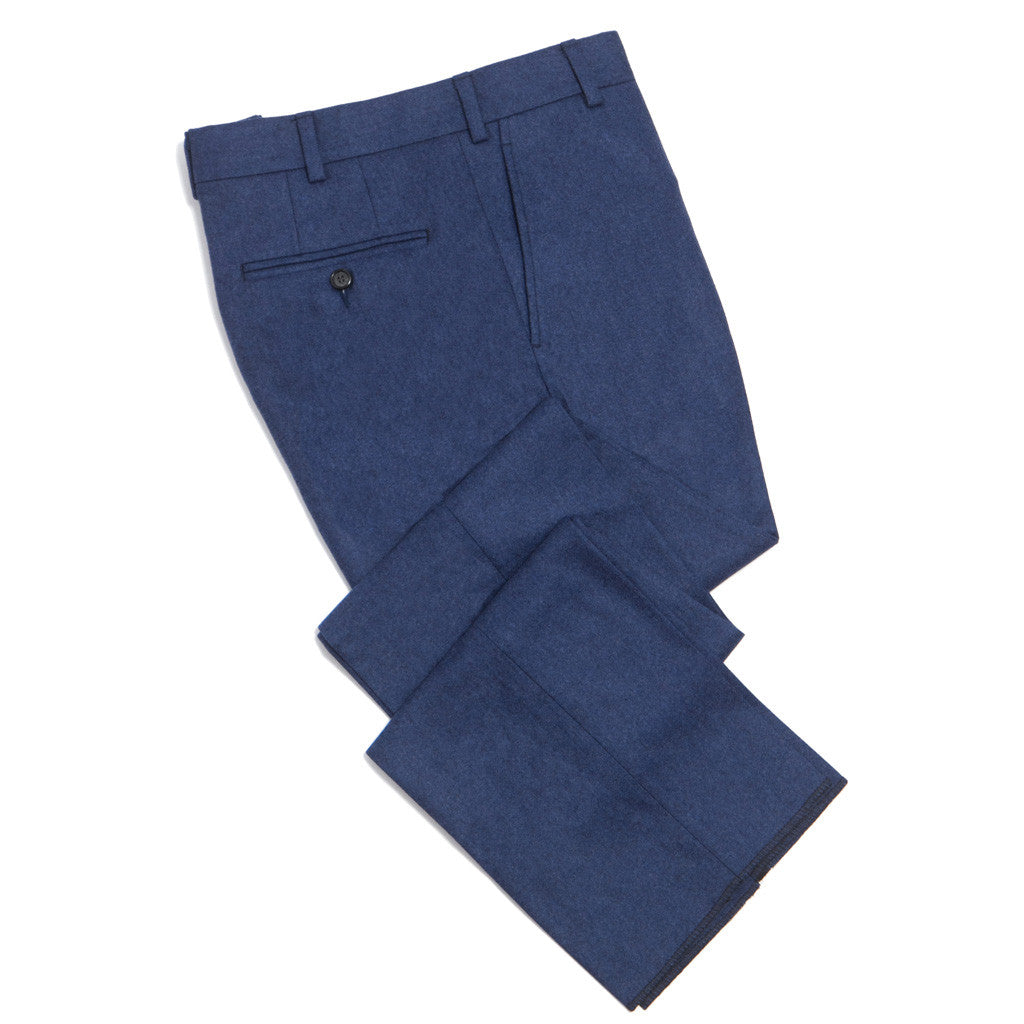 Blue Super 120's Wool Trouser Classic Fit - trousers - dapper-classics