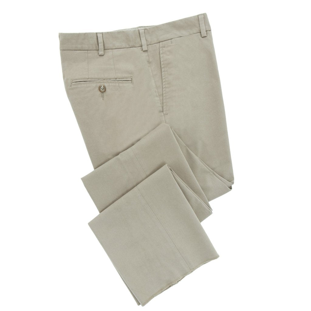 Khaki Cotton Stretch Trousers - Slim Fit