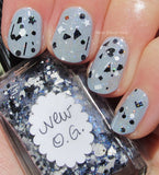 Lynnderella Nail Polish—New O.G.—Black and White Multiglitter