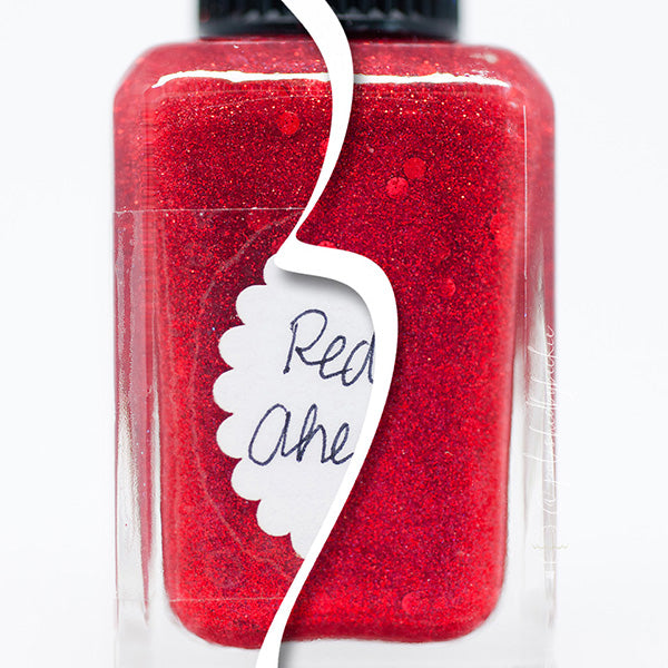 Lynnderella Nail Polish—Red Ahead—Accented Red Micro Glitter