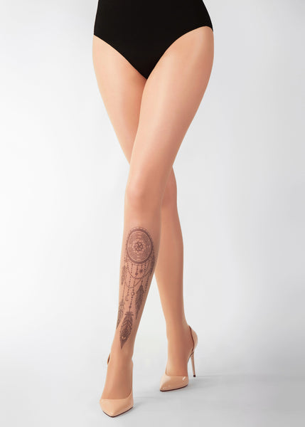 BLACK DREAMCATCHER TATTOO 20 DEN Sheer Tights