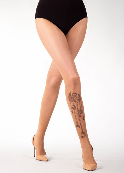 STEAMPUNK HEART TATTOO 20 DEN sheer tights