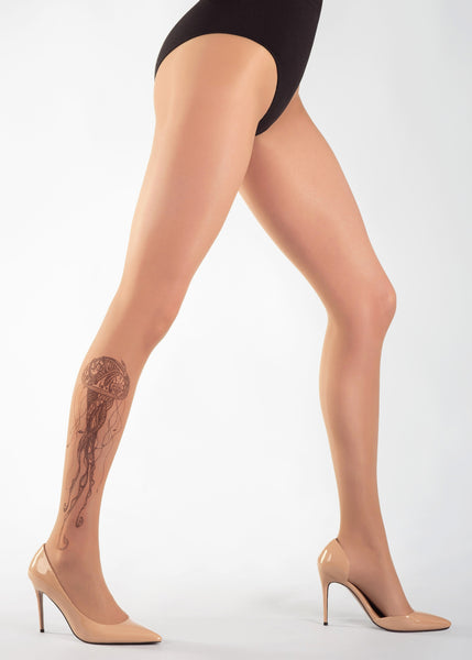 BLACK JELLYFISH TATTOO 20 DEN Sheer Tights