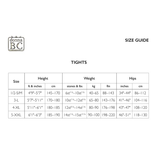 Donna BC Size Guide - Tights