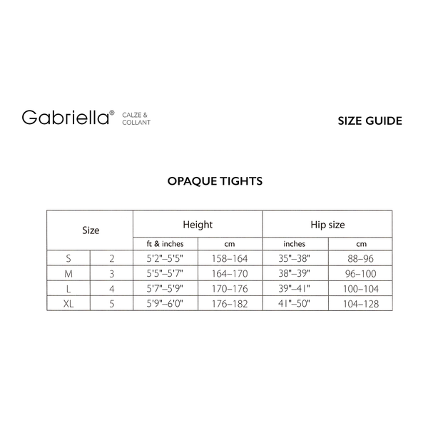 Gabriella Size Guide - Tights