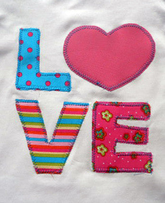 Alphabet appliques letters and a heart PDF sewing pattern