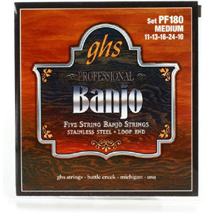 GHS Medium Regular Stainless Steel 5 String Banjo Strings