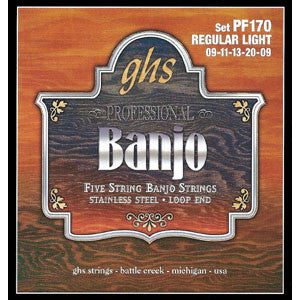 GHS Light Regular Stainless Steel 5 String Banjo Strings