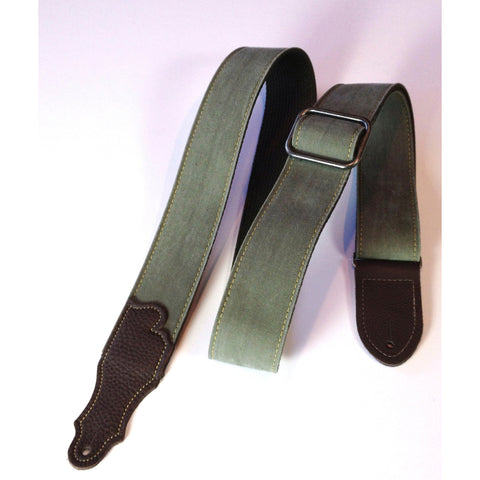 "Franklin Strap, 2"" Wide, Distressed Olive, Chocolate Ends"
