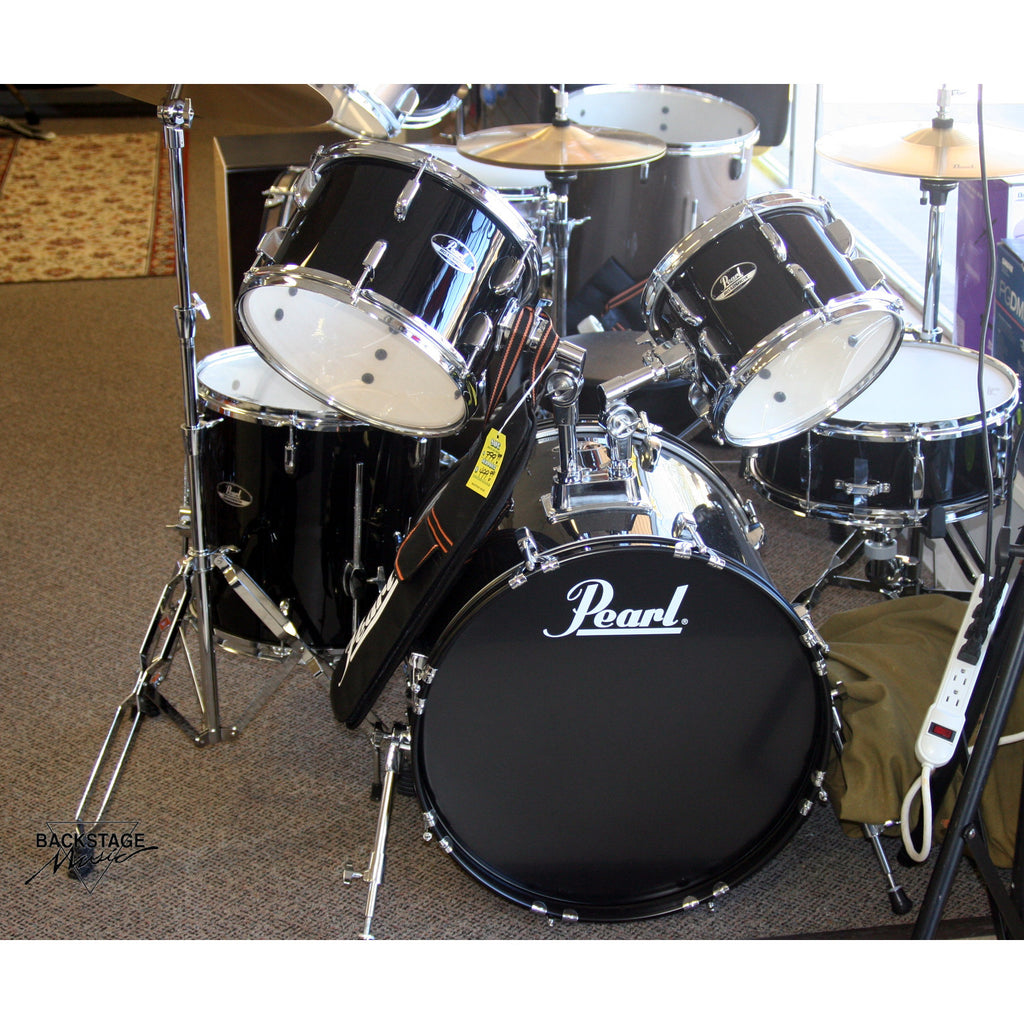Pearl Roadshow 5 Piece Jet Black, Drum Kit, Assembled, Tuned, Ready To Play
