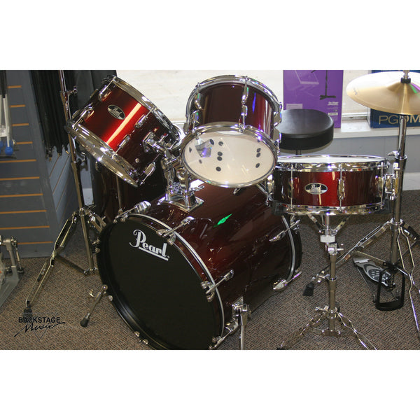 "Pearl Roadshow 20"" 5 Piece Drum Kit, Wine Red, Assembled, Tuned, Ready To Play"