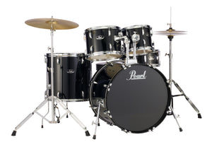 "Pearl Jet Black Roadshow Drum Kit, 5 Piece, 22"" Bass, With Cymbals, Hardware, Throne"