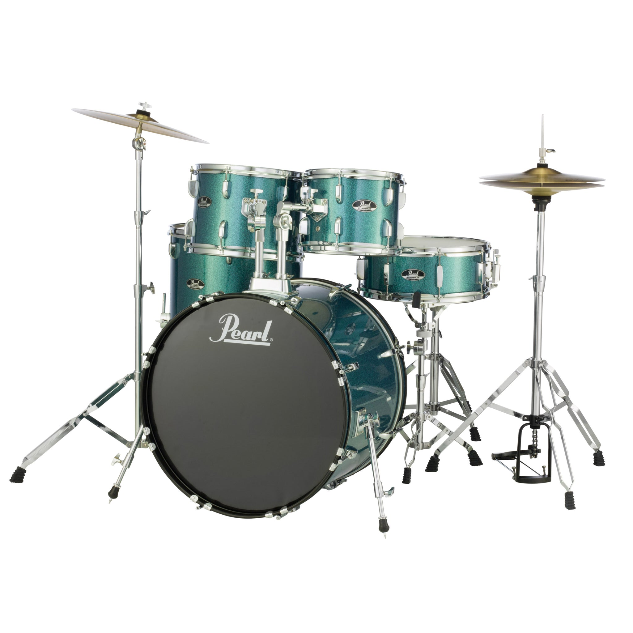 Pearl Roadshow 5-Piece Aqua Blue Glitter Drum Kit With Hardware, Cymbals, Throne