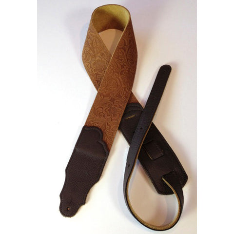 "Franklin Strap, 2.5"" Embossed Caramel Leather, Chocolate Stitching"