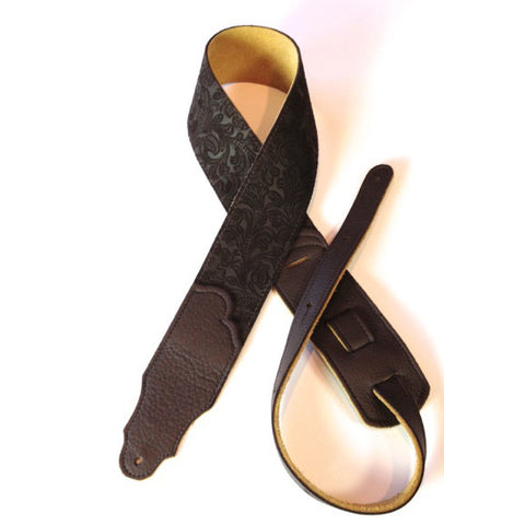"Franklin Strap, 2.5"" Embossed Chocolate Leather, Chocolate Stitching"