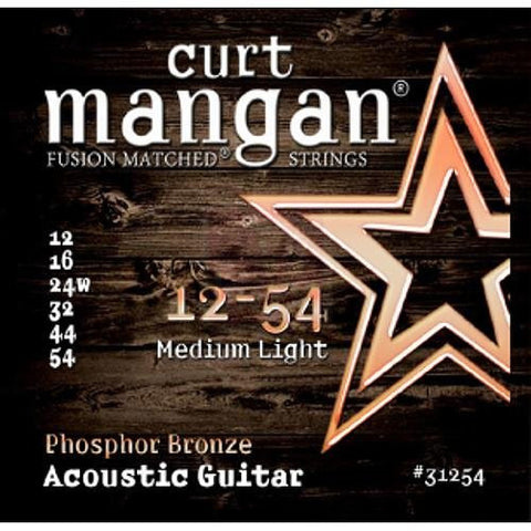 Curt Mangan  Phosphor Bronze Medium Light Acoustic Strings 12-54