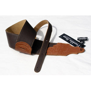"Franklin Strap, 3"" Chocolate Glove Leather, Tooled Ends"