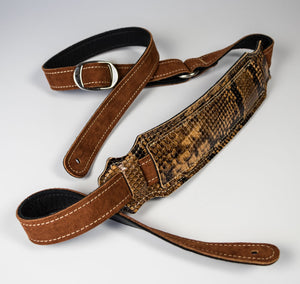 Franklin Cognac/Snakeskin Leather Strap With Shoulder Pad