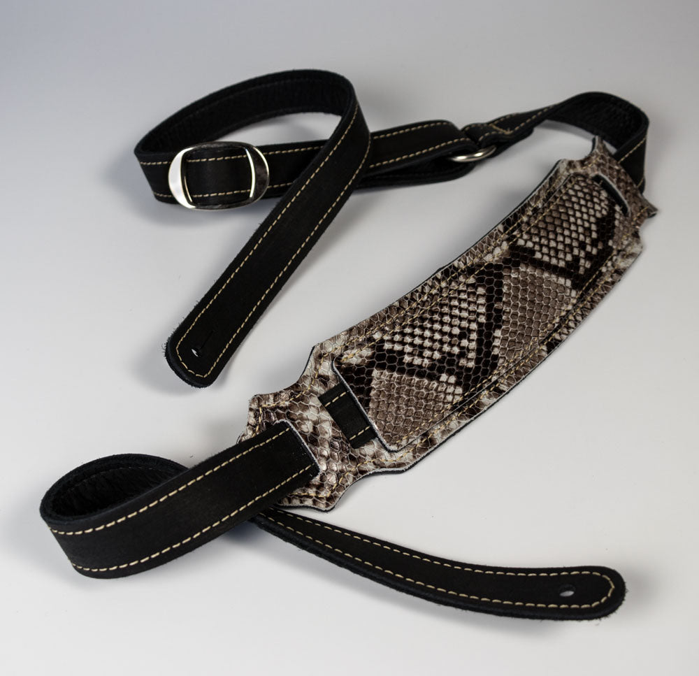 Franklin Black/Snakeskin Glove Leather Strap With Shoulder Pad