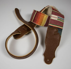 "Franklin 2"" Saddle Blanket Strap With Natural Cotton Back and Caramel Leather Ends"