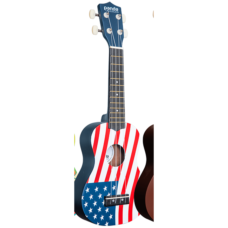 Amahi Panda Soprano Ukulele With Carrying Bag, American Flag