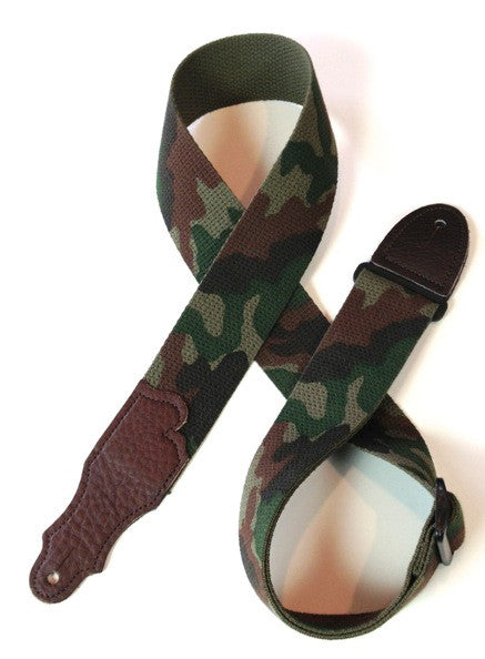 "Franklin Strap, 2"" Camo Cotton, Chocolate Leather Ends"
