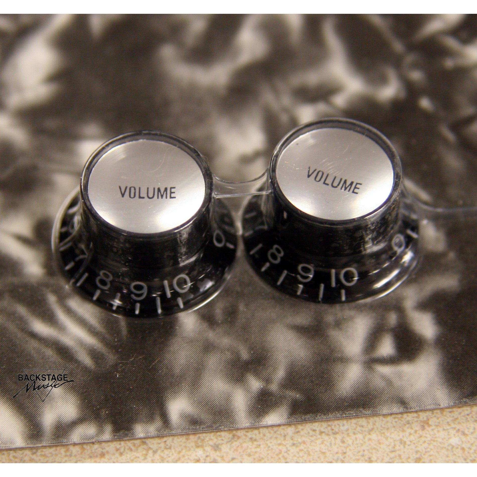 Black Reflector Cap Volume Knobs (Pack of 2)